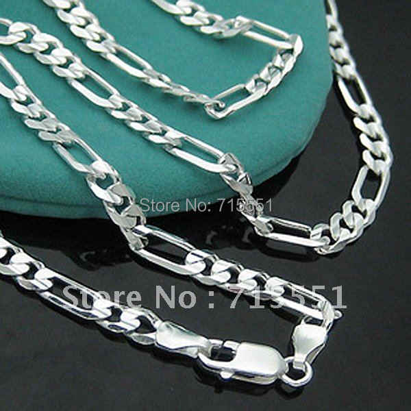 LJ&OMR  925 sterling silver necklace New Items Men Jewelry  High Quality  Silver 4MM Figaro Chain Necklace for men