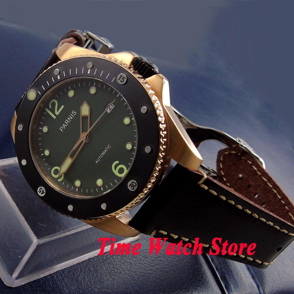 Parnis 43mm black dial luminous sapphire glass gold case ceramic bezel 10ATM 21 jewels MIYOTA Automatic mens watch 690 цена и фото