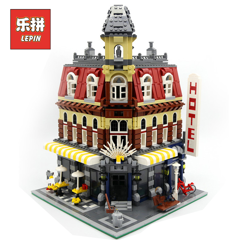 LEPIN 15002 Street View Series Cafe Corner DIY Set Model Building Kits Blocks Bricks Children Toys Christmas Gift Brinquedos ynynoo lepin 02043 stucke city series airport terminal modell bausteine set ziegel spielzeug fur kinder geschenk junge spielzeug
