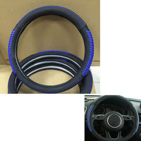 For Mazda 3 Axela 2013 2014 2015 2016 1pc Car Blue Line Black Soft Leather Steering Wheel Glove Cover Shell For Universal Car