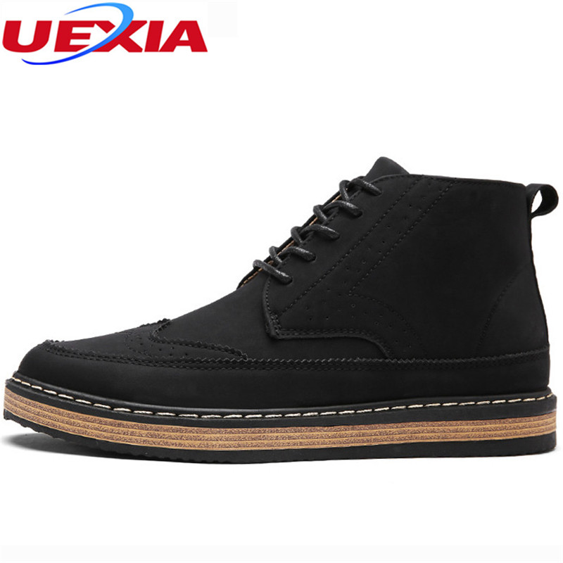 UEXIA High Quality Casual Shoes Men Boots Patent leather Ankle Handmade Martin Boots Fashion lace-up Flats shoes Zapatos Hombre new spring men shoes trainers leather fashion casual high top walking lace up ankle boots for men red zapatillas hombre