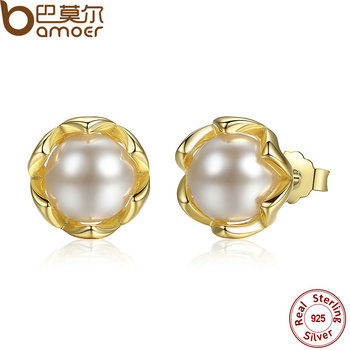 BAMOER Authentic 925 Sterling Silver Simulated Pearl Stud Earrings Gold Color Jewelry for Women Party PAS419 aretes argollas de oro 14k