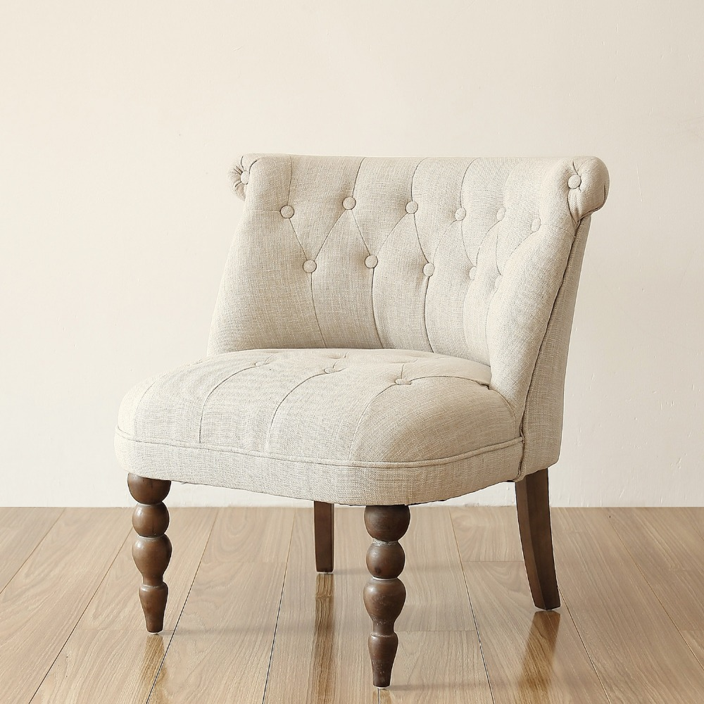 Luxury European Style Vintage Accent Chair Buttom Tufted Cushion Antique  Legs Living Room Furniture Accent Side Sofa Chair  In Living Room Chairs  From ...