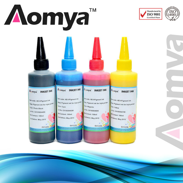 4 colors Aomya pigment print ink Compatible For Epson WorkForce Pro WF-5620DWF  printers 100ml Refill Ink Waterproof