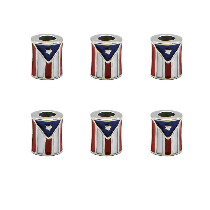 1Pcs Stainless Steel Puerto Rico Flag Pendant Charms For Bracelets Necklace Bangle Charm PR Flag Beads Diy Jewelry Wholesale