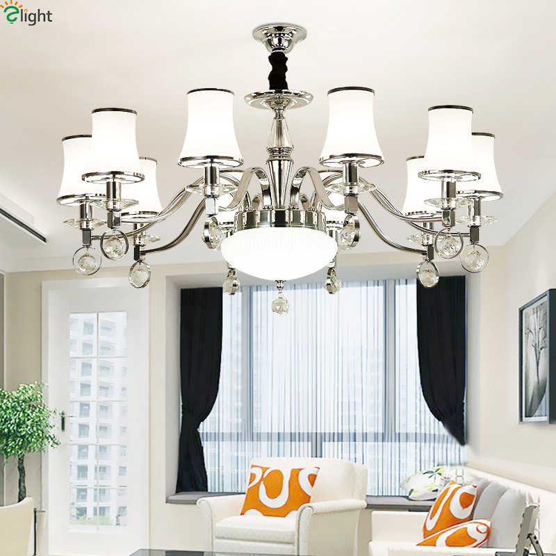 Modern Lustre Crystal Led Chandeliers Lighting Chrome Living Room Led Pendant Chandeliers Lights Bedroom Hanging Light Fixtures modern led crystal chandelier lights living room bedroom lamps cristal lustre chandeliers lighting pendant hanging wpl222