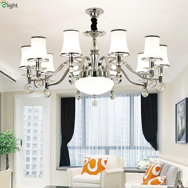 Modern Lustre Crystal Led Chandeliers Lighting Chrome Living Room Led Pendant Chandeliers Lights Bedroom Hanging Light Fixtures