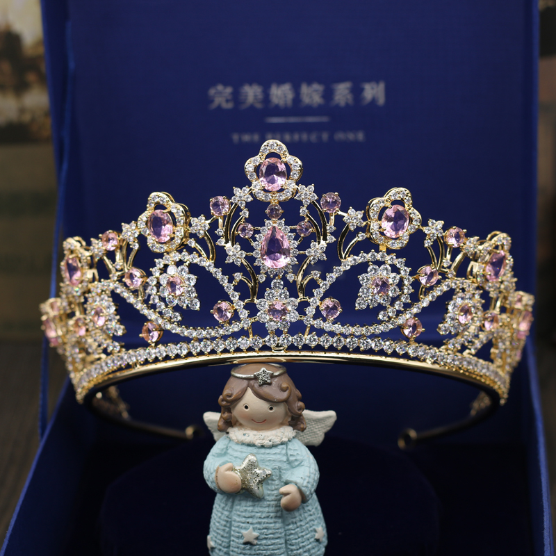 Fashion luxury Paved big red pink purple CZ Crown Cubic Zircon Wedding bride banquet dinner Bride Hair Jewelry free shipping 03 red gold bride wedding hair tiaras ancient chinese empress hat bride hair piece