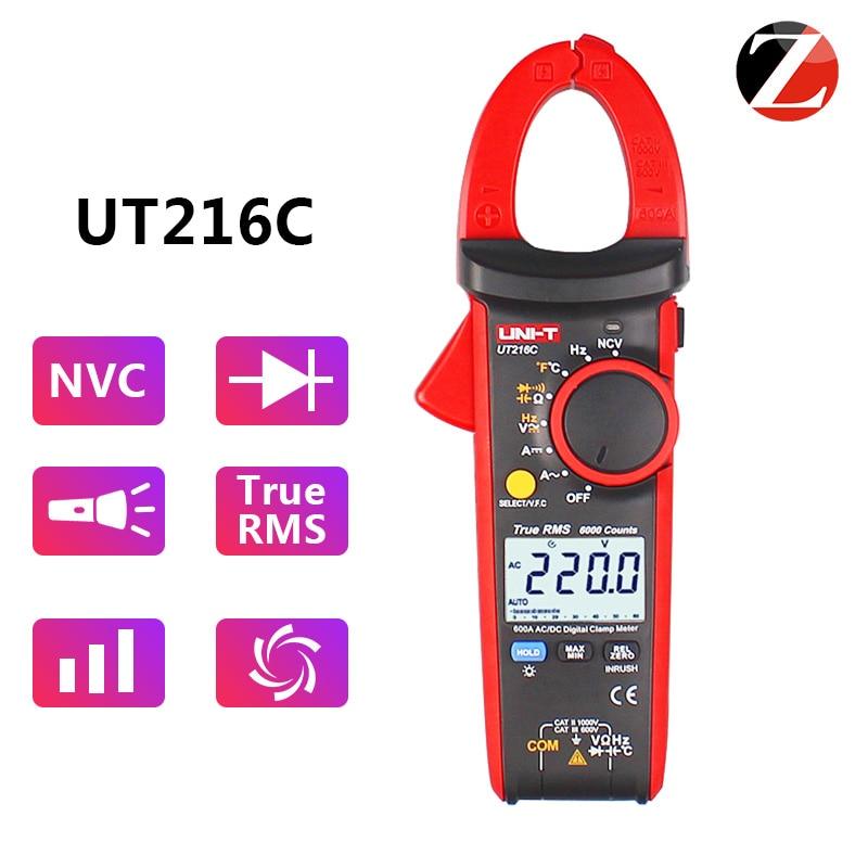 UNI T Digital Clamp Meter UT216C AC and DC Current Measurement RMS Frequency Capacitance Temperature NCV