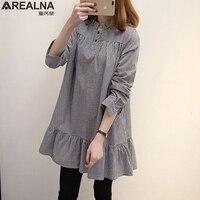 AREALNA 2017 Shirts Women Clothing Fashion Cute Loose Button Collar Plaid Long Sleeve Ruffles Mini Dress