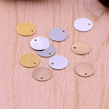 50pcs/lot 9mm copper material gold silver blank Circular charm pendant accessories for bracelet DIY jewelry making