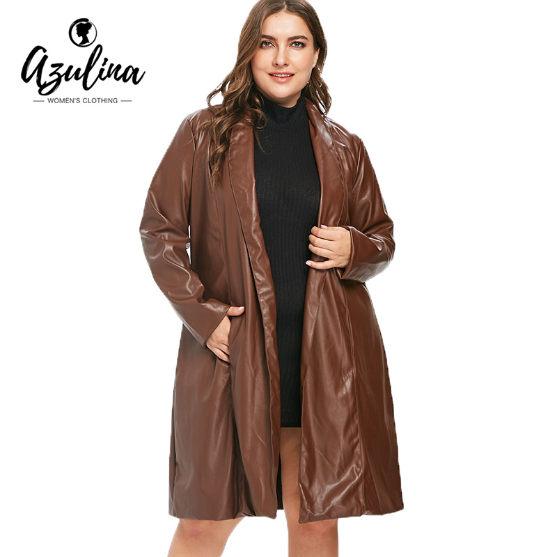 AUZLINA Plus Size Faux Leather Knee Length   Trench   Coat 2018 Autumn Women'S High-Quality PU Long Slim Coat Autumn Coats Outerwear