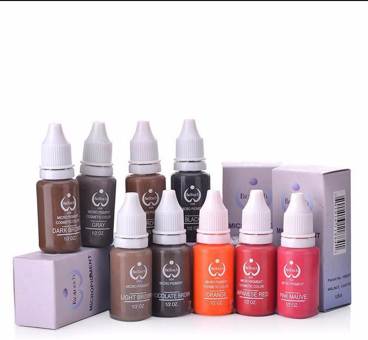 10 Colors Tattoo Makeup Permanent Tattoo Ink Set 15ml one Bottle Biotouch Pigment for Eyebrow Embroidery Tattoo Makeup Pigment 35000r import permanent makeup machine best tattoo makeup eyebrow lips machine pen