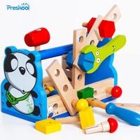 Montessori Kids Toy Wood Pretend Panda Tool Fix Repair Maintainance Learning Educational Preschool Training Brinquedos Juguets