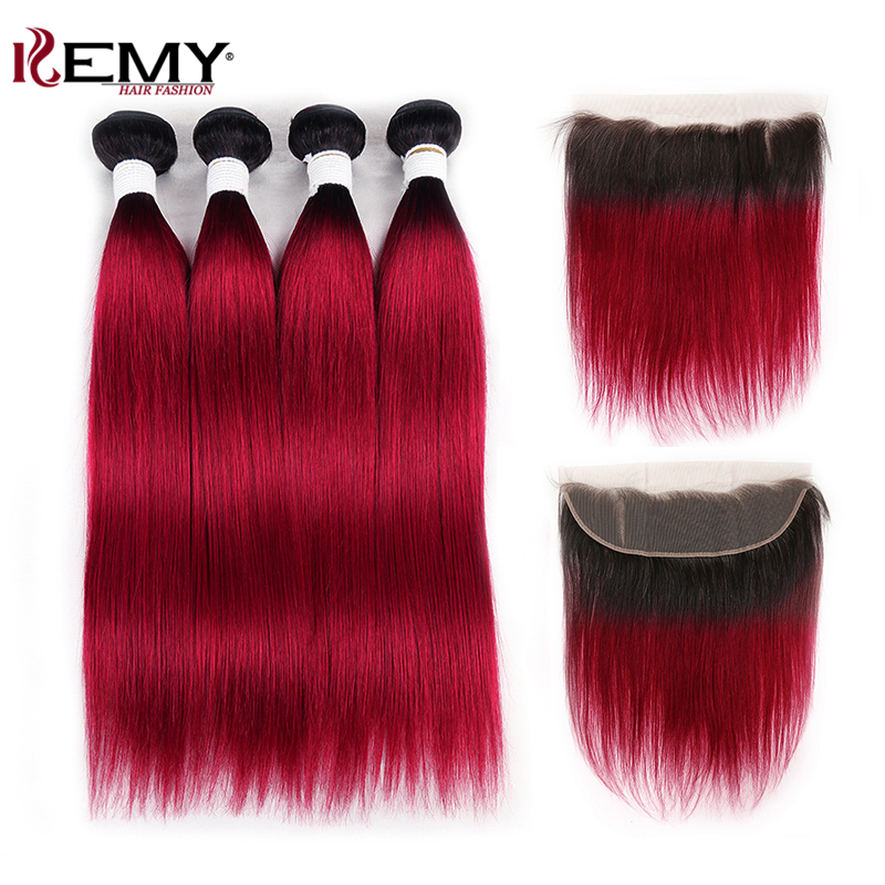 Brazilian Straight Human Hair Bundles With Frontal KEMY HAIR Dark Roots 1B/BURG Bundles With Closure NonRemy Hair Weave Bundles