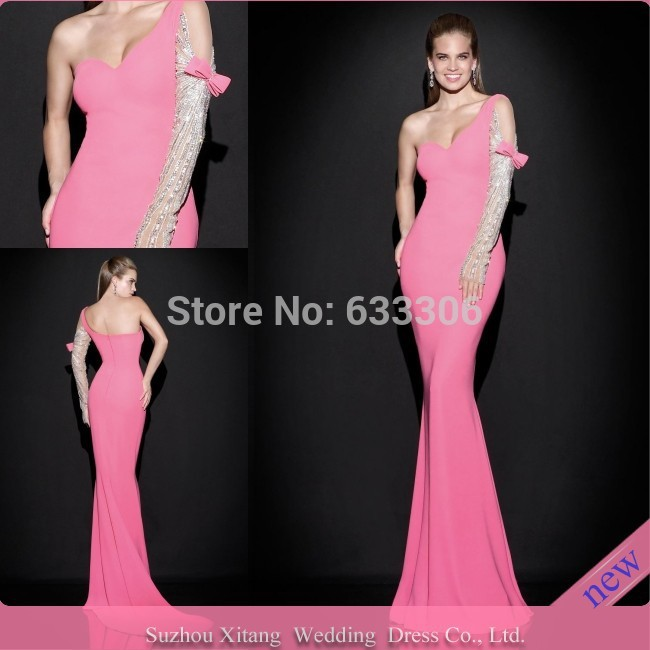Vestido De Fiesta Pink Mermaid One-shoulder Long Sleeve Beaded Backless Floor length evening dresses Gown - Cloudup store