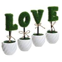 אהבה חדשה קישוט לבן קרמיקה גידור ירוק צמח מלאכותי סט/סט של 4 אותיות צמח מזויף
