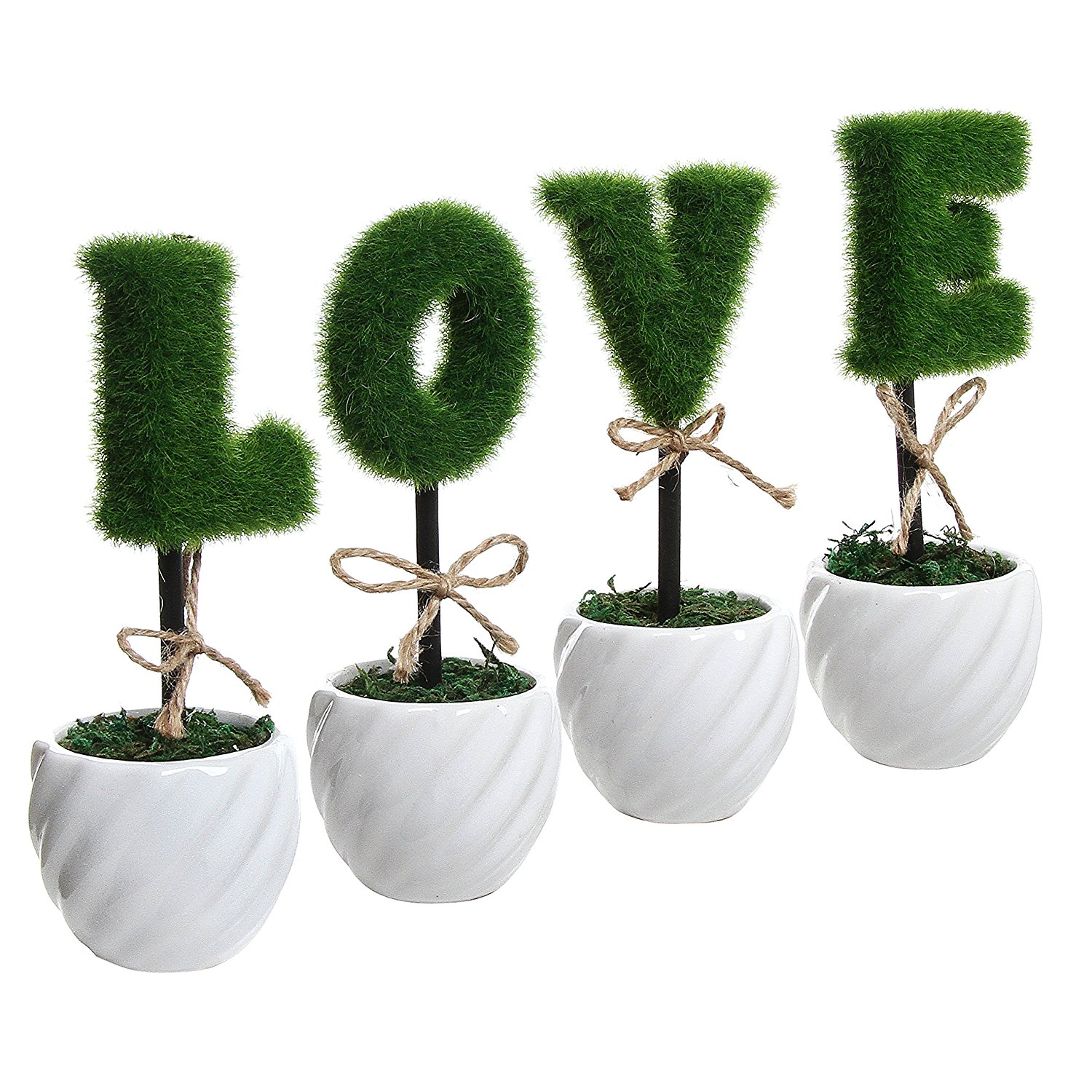 New LOVE Decoration White Ceramic Green Hedge Artificial Plant Set / Set of 4 Fake Plant Letters