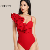 COLROVIE Ruffle One Shoulder Slip Bodysuit Layered Flounce Women Sexy Cute Red Bodysuits 2017 New Elegant