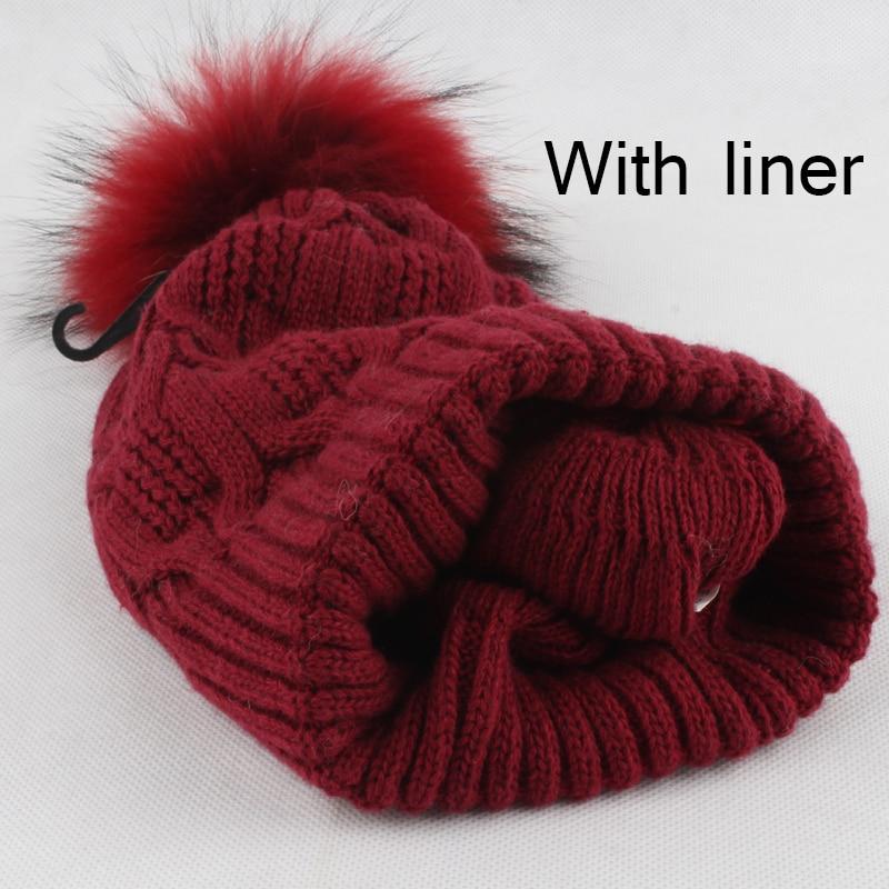 Žiemos kailių pompom skrybėlės moterims Nekilnojamasis usūrinių - Drabužių priedai - Nuotrauka 6