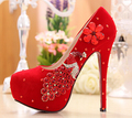 Size 34-39 Red Rhinestone Wedding Shoes Red Bridal High Heel Pumps Sexy Bride Club Shoes Peacock Crystal Designer Shoes R200-1