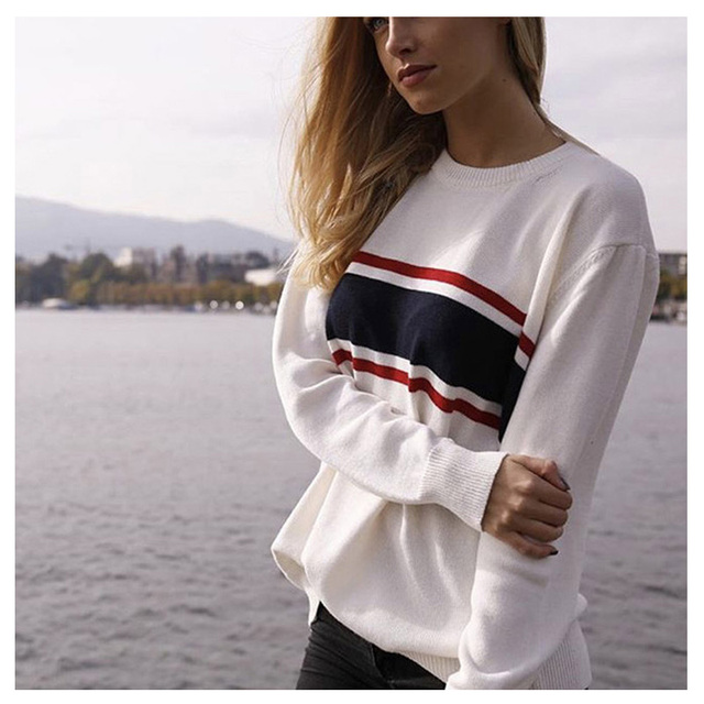 Sweater Women Knitted Pullovers Harajuku Casual Long Sleeve Stripe Fashion Streetwear Vintage White Turtleneck Sweaters Jumpers