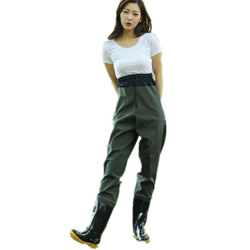 Men women half length elastic waist fishing wader pants <font><b>boot</b></font> waterproof rubber breathable rain <font><b>boots</b></font> shoes jumpsuit trousers