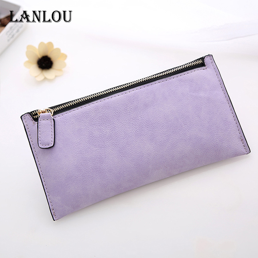 LANLOU Wallet Women Leather Wallets  Brand Luxury Brief Women Wallet Fashion Ladys Coin Purse Package Matte Leather Long Wallets
