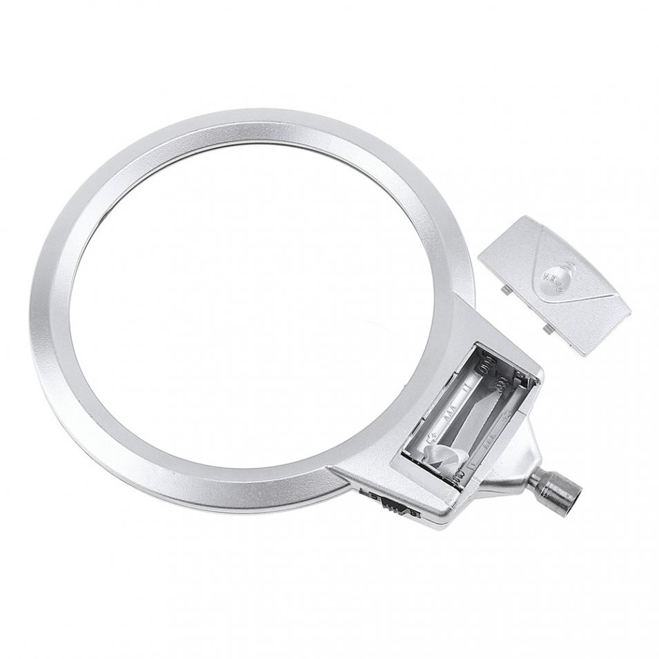 ABS Metal Hose Adjustable Desktop Magnifier Loupe 2X / 5X Magnifying Glass with LED Light Lamp for Jewel Repair Tool