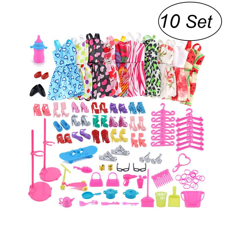 Doll Clothes Set 10 Pack Party Gown 18 Pairs of Shoes 55pcs Doll Accessories for Doll Dress Up Girl Gift (Random Color)