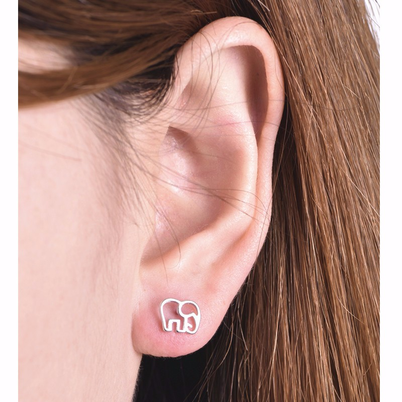 E0112 New Fashion Gold-color Elephant Stud Earrings for Women Concise Lovely Design Animal Silver Plated Jewelry Hot Sale Gifts