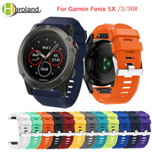 цена на Hot 26MM Watchband Strap for Garmin Fenix 5X for Garmin Fenix 3/3 HR GPS Watch Quick Release Silicone Easyfit Wrist Band Strap