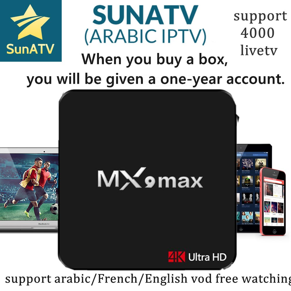 Super Stable MX9 Max With 1 Year SUNATV Netflix RK3328 configured Arabic IPTV Europe iptv French
