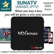 Super estable MX9 Max con 1 año SUNATV/Netflix RK3328 configurado árabe IPTV Europa iptv francés Set top box caja inteligente(China)