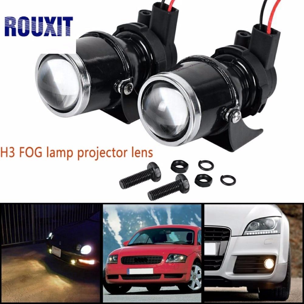2x 12V 55W Universal H3 Retrofit Projector Glass Lens Driving Fog Lamp Light Halogen Bulb Bracket Kit