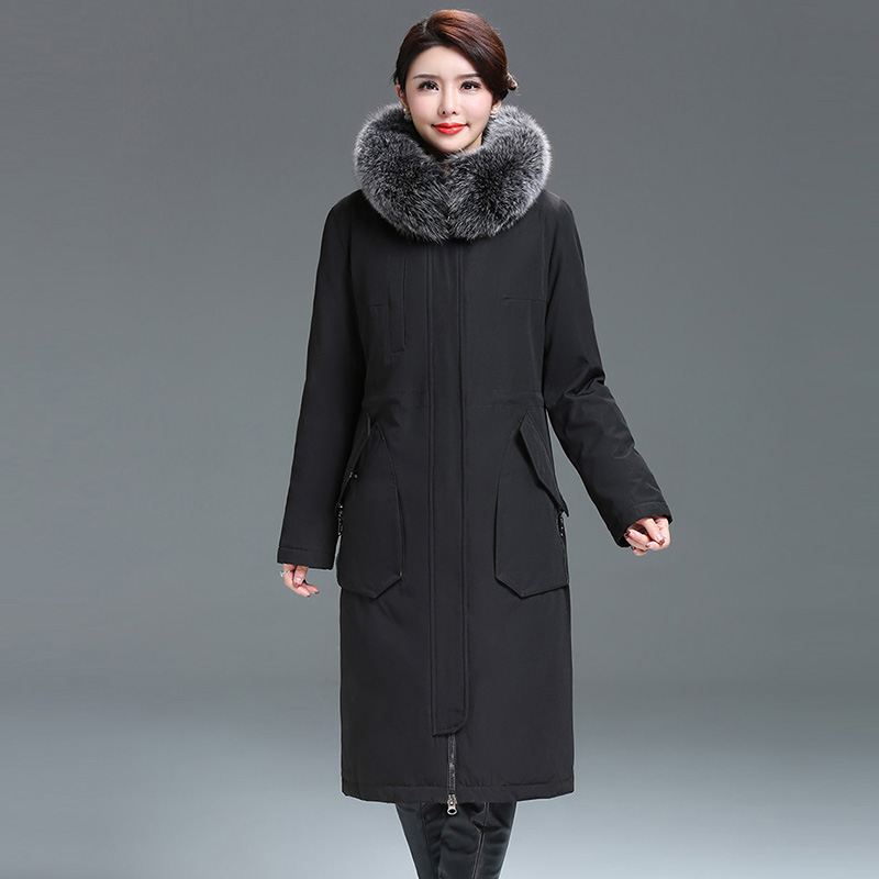 Fashion Women Thicken   Down   Jackets Big Fur Collar Hooded Long   Down     Coats   Outwears Female Casual   Down   Parkas Plus Size YP2142