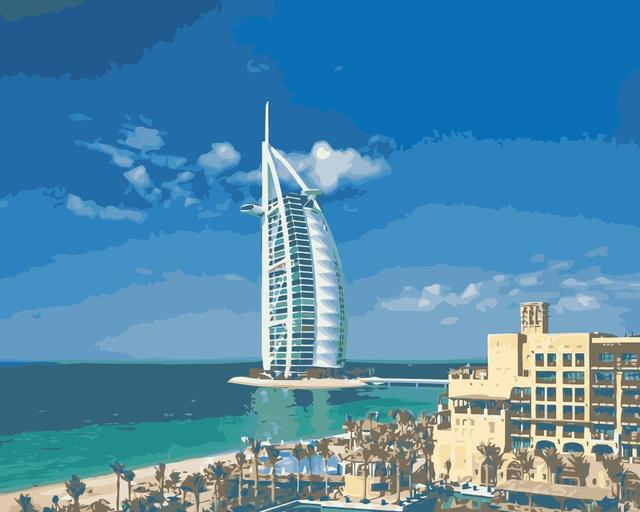 US $23 22 10% OFF|MaHuaf j239 Luxury Dubai hotels landscape DIY drawing by  numbers canvas painting for living room -in Painting & Calligraphy from