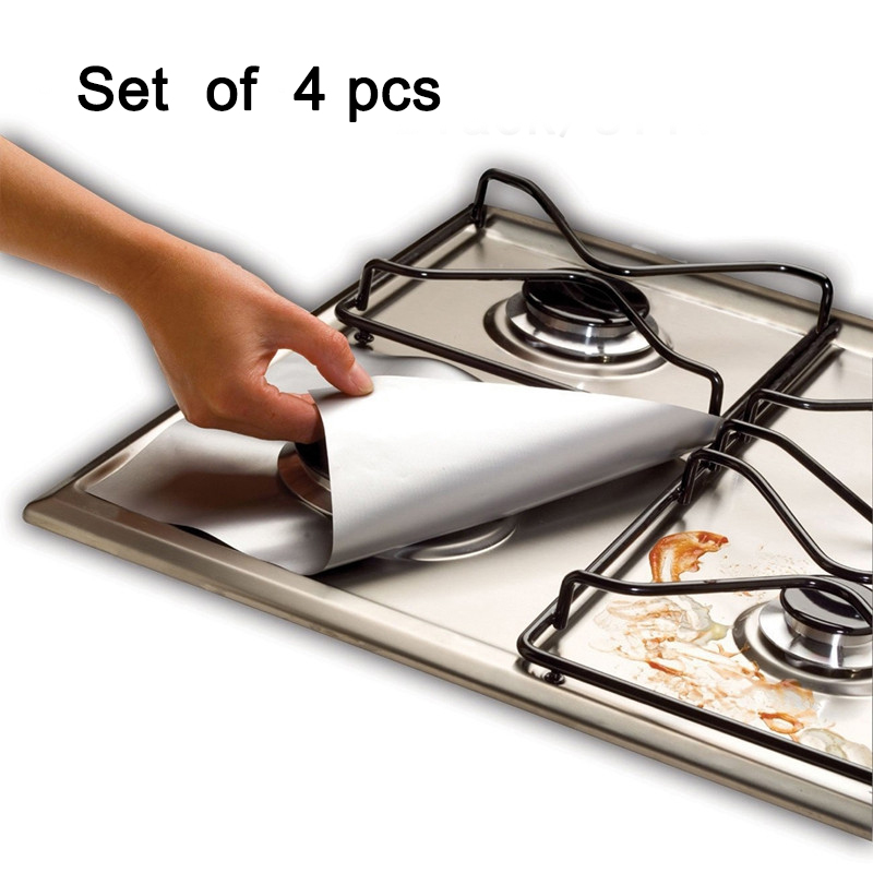 4PCS/LOT Stovetop Reusable Aluminum Foil Gas Stove Protectors Cover Liner Reusable Non Stick Dishwasher Safe Kitchen Supplies