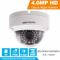 Hikvision מצלמת אבטחת HD 1080 P פנימי/חיצוני כיפת IP מצלמה תמיכת Onvif POE DS-2CD2142FWD-I 4.0MP מובנה בכרטיס SD חריץ