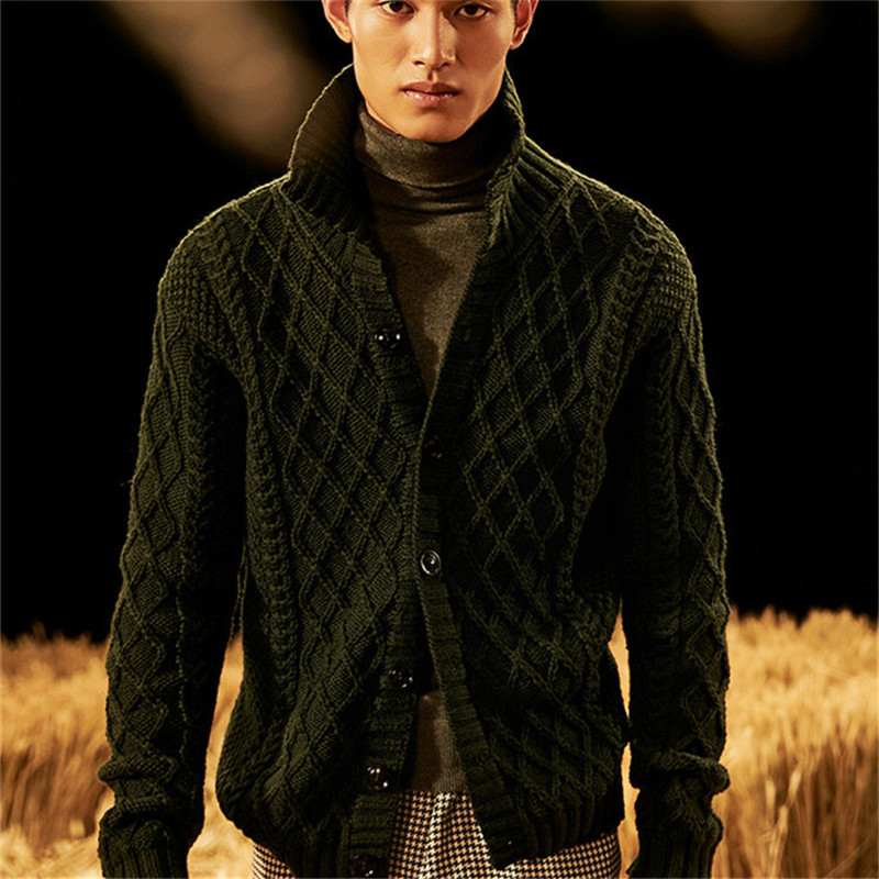 100% Hand Made Pure Wool High Turn-down Collar Knit Men Fashion Solid Loose H-straight Cardigan Sweater One&over Size