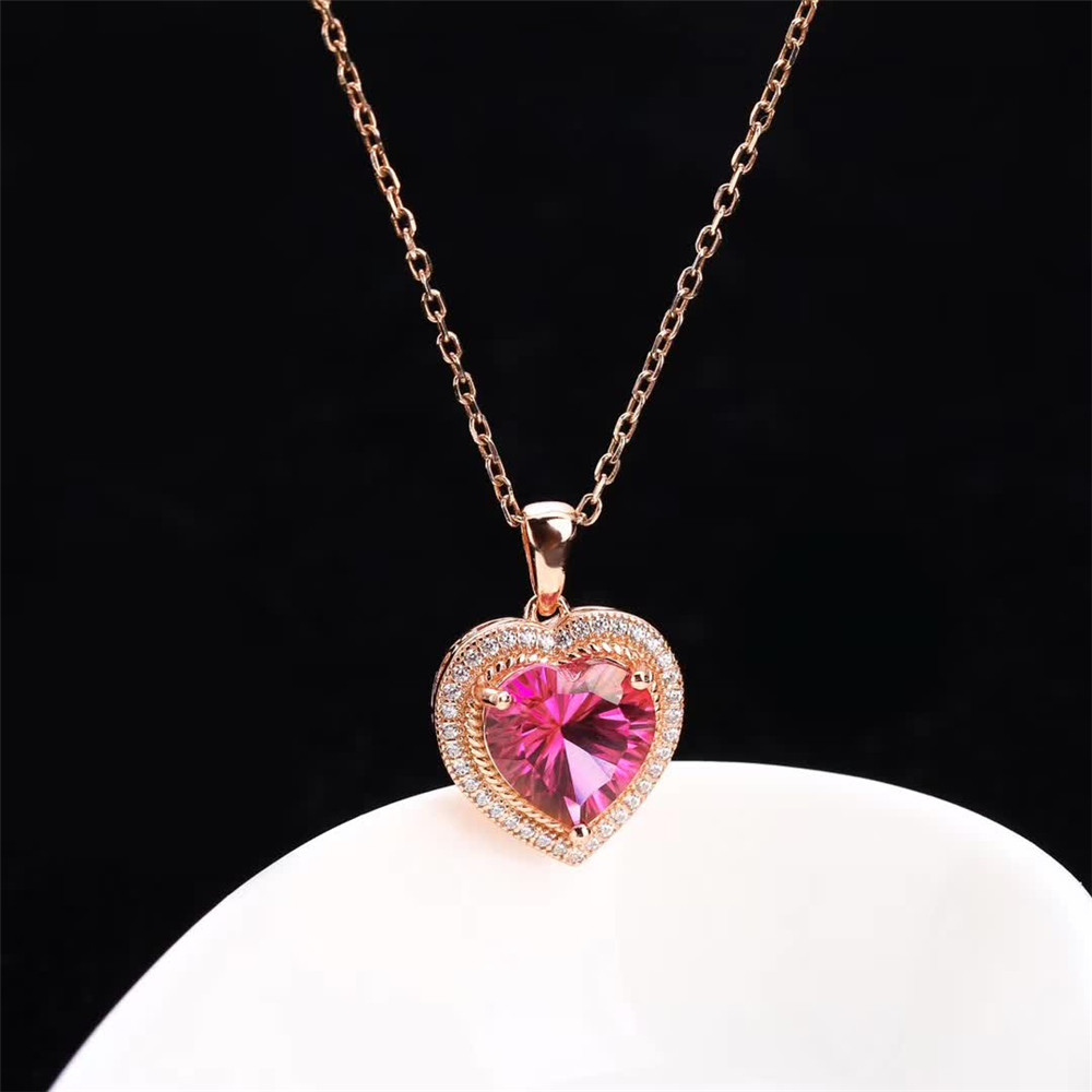 Gemstone Jewelry Factory Wholesale Fashionable White Rose Gold Color 925 Sterling Silver Natural Red Garnet Pendant Necklace