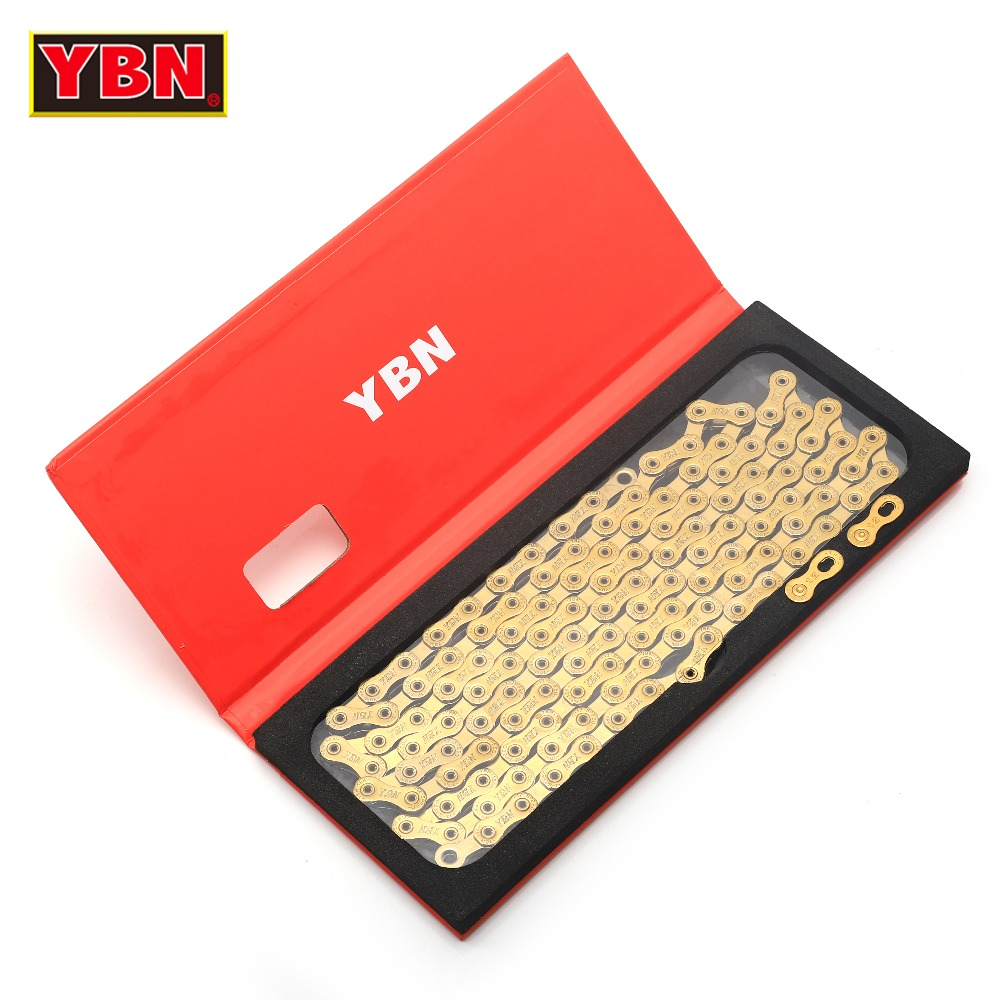 YBN chain SLA golden bicycle axis hollow 12 speed bike chain mountain road bike 12 variable ultralight 261g 126 links boxed 2017 new original ybn 11 speed diamond black mtb mountain road racing bike chain sla 110bg