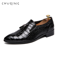 CHUQING 2019 New Dress Set Foot Tassel Pointed Shoes Men's Business Shoes