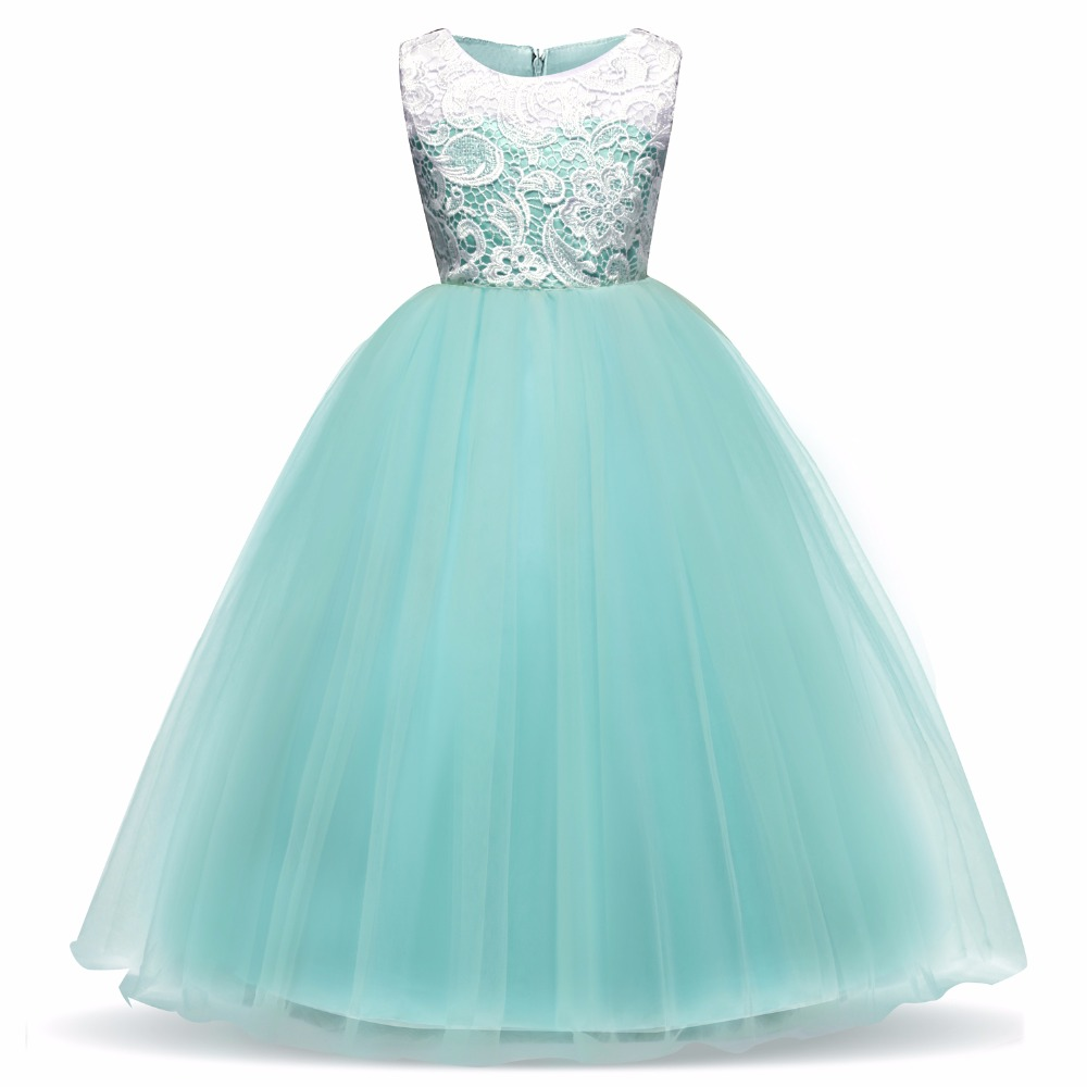 5 14 Years Teens Party Prom Tulle Lace Wedding Flower Girl Dresses ...