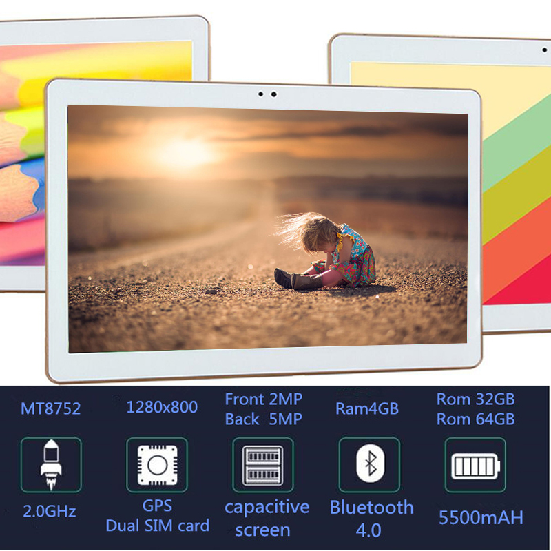 MT8752 Octa Core 10.1 Inch Tablet Gps  Android 8.0 Tablet 4GB RAM Computer Dual SIM Bluetooth GPS Build 3G 5 MP 10 Tablet PC