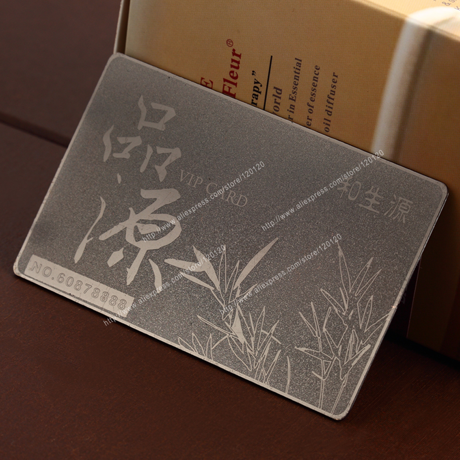 Personalized shield printing quality wire drawing stainless steel business metal card