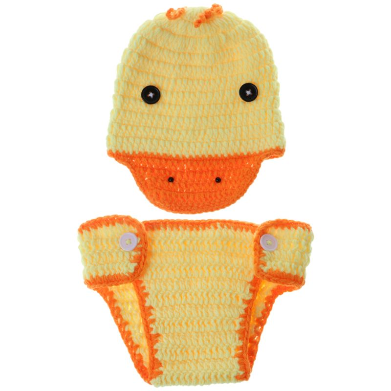1 Set Hot Koop Baby Foto Kostuum Hoed Broek Gevlochten Handgemaakte Gele Eend Grappig Fotografie Pasgeboren