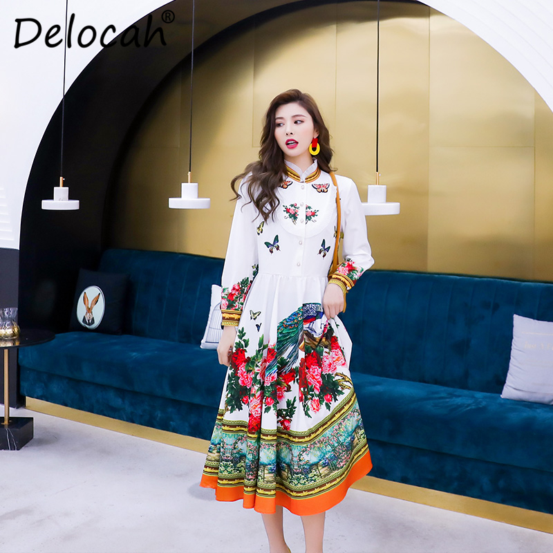 Delocah Women Spring Summer Dress Runway Fashion Designer Long Sleeve Gorgeous Beading Flower Printed A Line