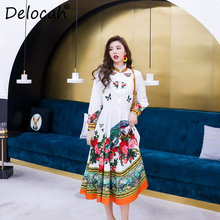 Delocah Women Spring Summer Dress Runway Fashion Designer Long Sleeve Gorgeous Beading Flower Printed A-Line Knee-Length Dresses