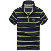 Summer Brand Clothing Men's Short Sleeve T shirt  Stripe Tshirt Homme Turn-down Collar Tops Man Loose Business T-shirt TEE